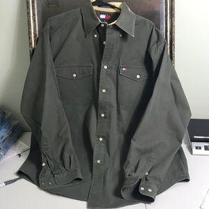 Tommy Hilfiger Shirts - Tommy Hilfiger olive button down 100% cotton sz M